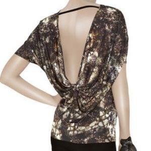 Helmut Lang Gravel Print Jersey Scoop Back Blouse